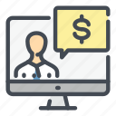 computer, consult, dollar, money, online, pay, payment icon