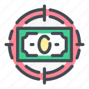 aim, cash, dollar, finance, goal, money, target icon