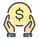 care, coin, dollar, donate, donation, hand, money icon
