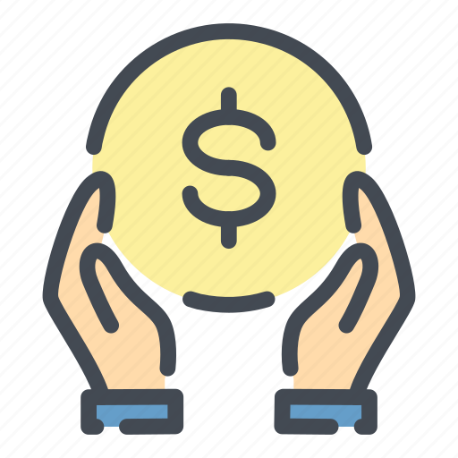 Care, coin, dollar, donate, donation, hand, money icon - Download on Iconfinder