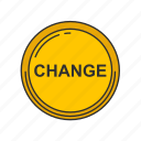 change, coin, gold coin, payment icon