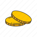 coins, dollar coins, gold coin, payment icon