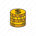 coins, dollar coin, dollars, payment icon