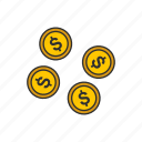change, coins, dollar, dollar coins icon