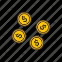 change, coins, dollar, dollar coins icon