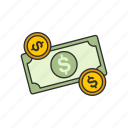 cash, change, dollar, dollar bill icon