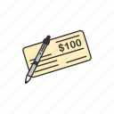 check, check issuance, one hundred dollar, payment icon