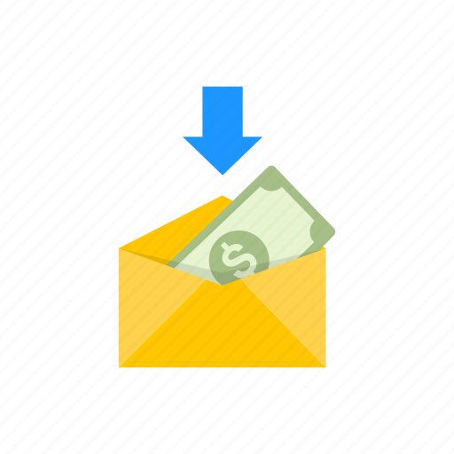 dollar, envelope, payment, receive money icon