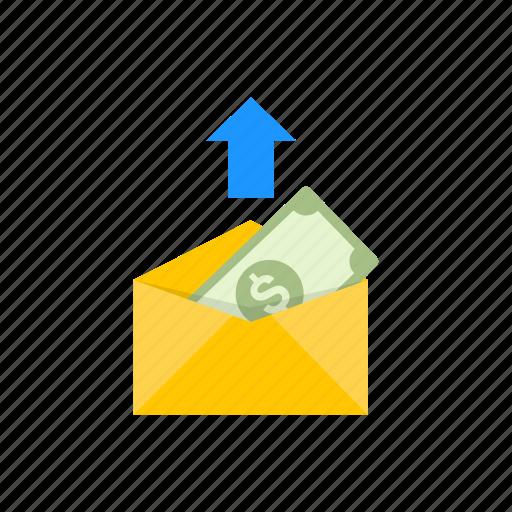 dollar, envelope, payment, sending money icon