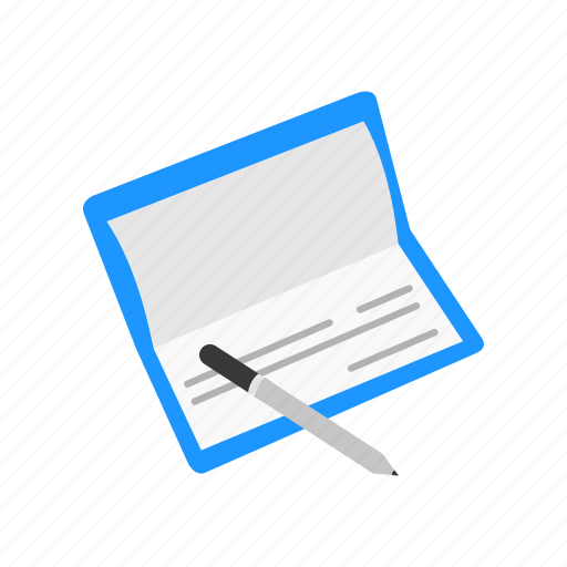 bank book, bank check, cheque, payment icon