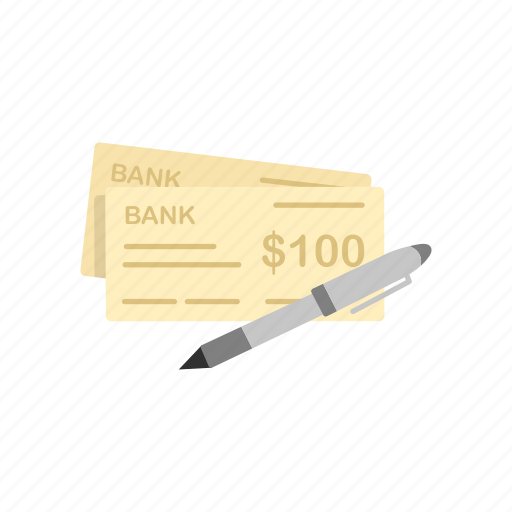 check, cheque, one hundred dollars, payment icon