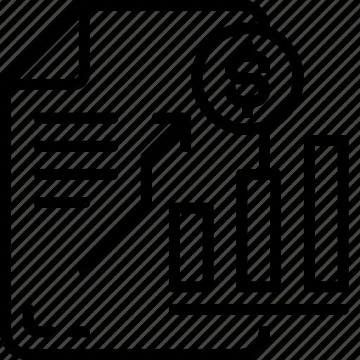 bill, business, document, dollar, file, finance, money icon