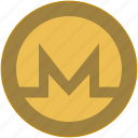 bitcoin, coin, exchange, letter, m, money icon