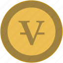 coin, exchange, letter, money, v, value icon