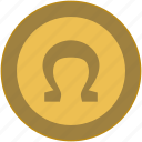 coin, exchange, money, omega icon