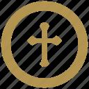 coin, cross, exchange, money, religion icon