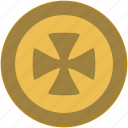 coin, cross, exchange, money, religion icon