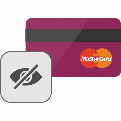 banking, card, credit, hide, service, view icon