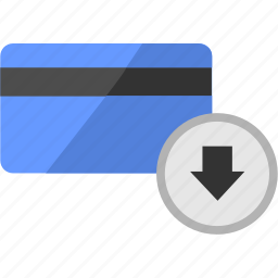 banking, card, credit, down, list, service icon