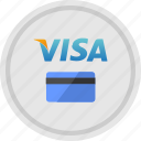 available, card, credit, payment, round, service, visa icon
