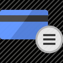 bar, card, credit, function, list, menu, service icon