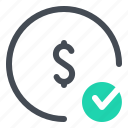 check, coin, finance, mobile, money, payment, transfer icon