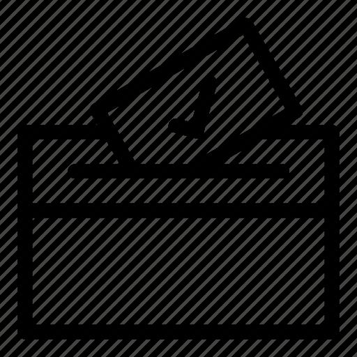 box, check mark, election, envelope, vote, votes, voting icon