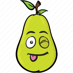 cartoon, emoji, face, pear, smiley icon