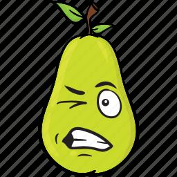 cartoon, emoji, face, pear, smiley icon