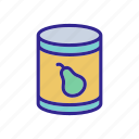 canned, fruit, outline, pear, pieces, sliced, vitamin