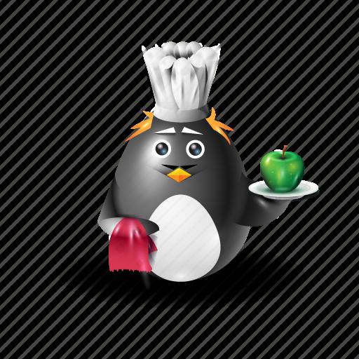 apple, food, pinguin, waiter icon