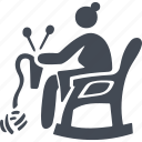 knitting, leisure, old woman, pensioners, rocking chair icon
