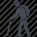 cane, pensioner, pensioners, retireee icon