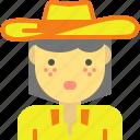cowgirl, farmer, hat, horseman, western icon