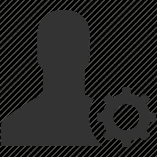 account, cog, configuration, gear, person, process, profile settings icon