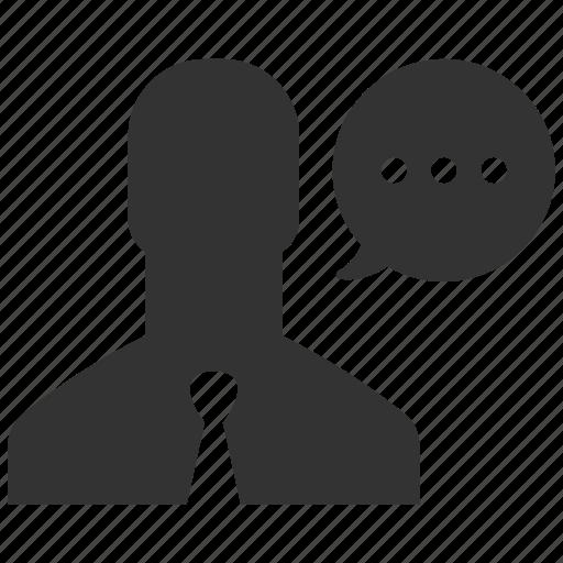 business man, conversation, message, monologue, person, speech, talk icon