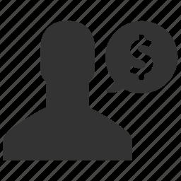 avatar, dollar, earnings, finance, man, money, salary icon