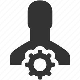 account, cog, gear, person, process, profile, settings icon