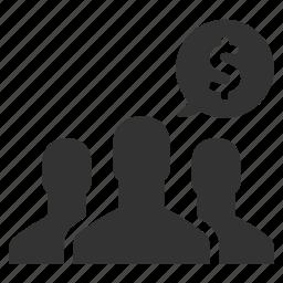 dollar, finance, group, men, money, people, team icon