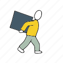 box, lifting, people, persons, workload icon
