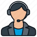 business, contact, female, formal, headset, headshot, profile icon