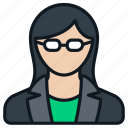 business, female, formal, glasses, headshot, person, profile icon