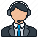 business, contact, formal, headset, headshot, male, profile icon