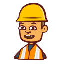avatar, building, construction, hand drawn, hard hat, worker icon