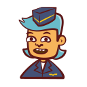 attendant, cartoon, flight, hand drawn, person, tourism, travel icon