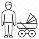 baby, family, father, newborn, stroller icon