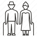 cane, family, grandma, grandpa, old, pair, people icon