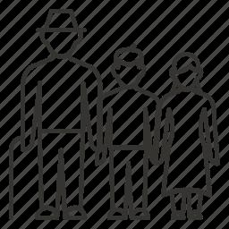 cane, grandchildren, granddaughter, grandpa, man, old icon