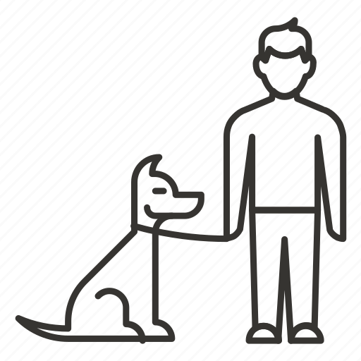 animal, boy, dog, friend, man, walk icon