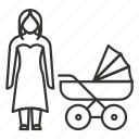 baby, family, mom, mother, newborn, stroller, walk icon